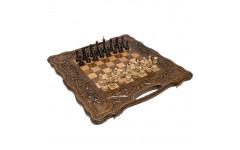 Шахматы + нарды резные Антемион 60 с ручкой Haleyan