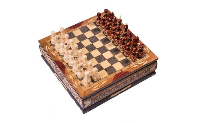 Шахматы резные ручной работы в ларце средние