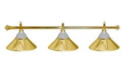 Лампа на три плафона «Jazz» (золотистая штанга, золотистый плафон D38см)