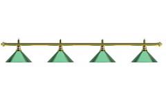 Лампа на четыре плафона «Evergreen» (золотистая штанга, зеленый плафон D35см)